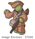 #37230 Clip Art Graphic Of An Olive Green Guy Character Hunting With A Rifle