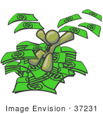 #37231 Clip Art Graphic Of An Olive Green Guy Character Jumping In A Pile Of Cash