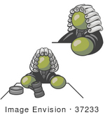 #37233 Clip Art Graphic Of An Olive Green Guy Character Judge