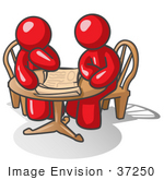 #37250 Clip Art Graphic Of Red Guy Characters Planning At A Table