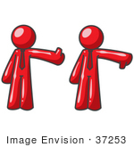 #37253 Clip Art Graphic Of Red Guy Characters Giving The Thumbs Up And Down