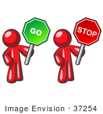 #37254 Clip Art Graphic Of Red Guy Characters Holding Up Go And Stop Signs