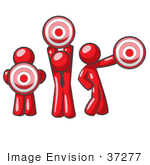 #37277 Clip Art Graphic Of Red Guy Characters Holding Targets