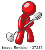 #37289 Clip Art Graphic Of A Red Guy Character Singing Into A Microphone