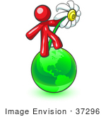 #37296 Clip Art Graphic Of A Red Guy Character With A Daisy On A Globe