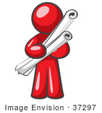 #37297 Clip Art Graphic Of A Red Guy Character Holding Scrolls