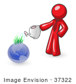 #37322 Clip Art Graphic Of A Red Guy Character Watering Earth
