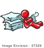 #37329 Clip Art Graphic Of A Red Guy Character Reading Paperwork