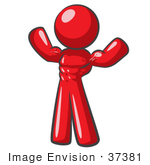 #37381 Clip Art Graphic Of A Red Guy Character Flexing His Muscles