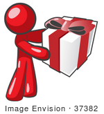 #37382 Clip Art Graphic Of A Red Guy Character Holding A Gift