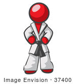 #37400 Clip Art Graphic Of A Red Guy Character In A Karate Suit