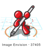 #37405 Clip Art Graphic Of A Red Guy Character Drawing A Circle On Graph Paper