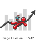 #37412 Clip Art Graphic Of A Red Guy Character Drinking A Cocktail On A Bar Graph