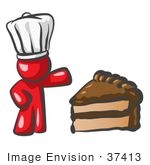 #37413 Clip Art Graphic Of A Red Guy Character Chef With Chocolate Cake