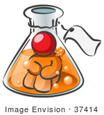 #37414 Clip Art Graphic Of A Red Guy Character In A Laboratory Flask