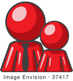 #37417 Clip Art Graphic Of A Red Guy Character With A Child