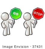 #37431 Clip Art Graphic Of White Guy Characters Holding Stop And Go Signs