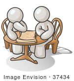 #37434 Clip Art Graphic Of White Guy Characters Planning At A Table