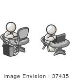 #37435 Clip Art Graphic Of White Guy Characters Working On Laptops And Desktops
