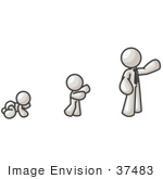 #37483 Clip Art Graphic Of A White Guy Character Growing From A Baby To A Man