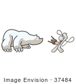 #37484 Clip Art Graphic Of A White Guy Character Taming A Bear