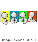 #37521 Clip Art Graphic Of A White Guy Character In Different Poses With Colorful Backgrounds