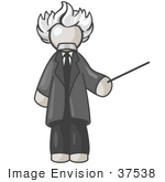#37538 Clip Art Graphic Of A White Guy Character As Einstein