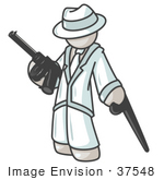 #37548 Clip Art Graphic Of A White Guy Character Holding A Gun