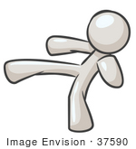 #37590 Clip Art Graphic Of A White Guy Character Kicking
