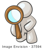 #37594 Clip Art Graphic Of A White Guy Character Kneeling And Looking Through A Magnifying Glass