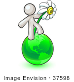 #37598 Clip Art Graphic Of A White Guy Character With A Daisy On A Globe