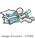 #37599 Clip Art Graphic Of A White Guy Character Reading Paperwork