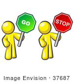 #37687 Clip Art Graphic Of Yellow Guy Characters Holding Stop And Go Signs