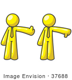 #37688 Clip Art Graphic Of Yellow Guy Characters Giving Thumbs Up And Down