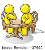 #37695 Clip Art Graphic Of Yellow Guy Characters Planning At A Table