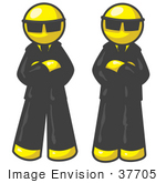 #37705 Clip Art Graphic Of Yellow Guy Characters Guarding An Entrance