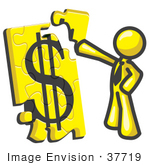 #37719 Clip Art Graphic Of A Yellow Guy Character Assembling A Financial Puzzle