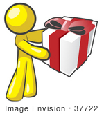 #37722 Clip Art Graphic Of A Yellow Guy Character Holding A Gift