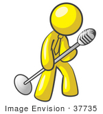#37735 Clip Art Graphic Of A Yellow Guy Character Singing With A Microphone