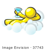 #37743 Clip Art Graphic Of A Yellow Guy Character Drinking A Cocktail On A Cloud