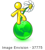 #37775 Clip Art Graphic Of A Yellow Guy Character With A Daisy On A Globe