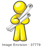 #37779 Clip Art Graphic Of A Yellow Guy Character Holding Scrolls
