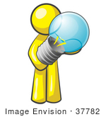 #37782 Clip Art Graphic Of A Yellow Guy Character Holding A Light Bulb
