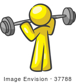 #37788 Clip Art Graphic Of A Yellow Guy Character Exercising With A Barbell