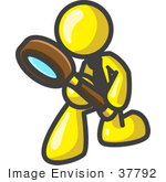 #37792 Clip Art Graphic Of A Yellow Guy Character Kneeling And Peering Through A Magnifying Glass