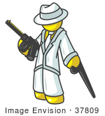 #37809 Clip Art Graphic Of A Yellow Guy Character Gangster With A Gun