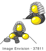 #37811 Clip Art Graphic Of A Yellow Guy Character Judge