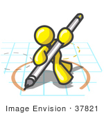 #37821 Clip Art Graphic Of A Yellow Guy Character Drawing A Circle On Graph Paper