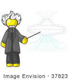 #37823 Clip Art Graphic Of A Yellow Guy Character As Albert Einstein Pointing To A Ufo
