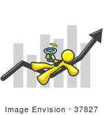 #37827 Clip Art Graphic Of A Yellow Guy Character Drinking A Cocktail On A Bar Graph